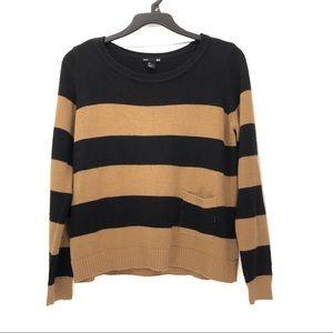 H&M Striped Knit Pocket Sweater